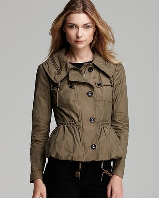 Burberry Brownsby Parka with Cinched Waist and Concealed Hood