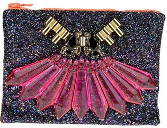 Mawi Perspex spike with teadrop crystal and tube single clutch