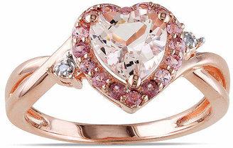 FINE JEWELRY Genuine Morganite, Pink Tourmaline and Diamond-Accent Heart-Shaped Ring