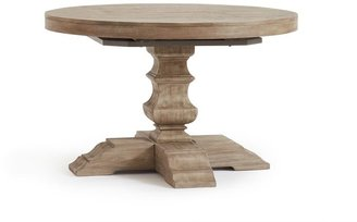 Pottery Barn Banks Round Pedestal Extending Dining Table - Alfresco Brown