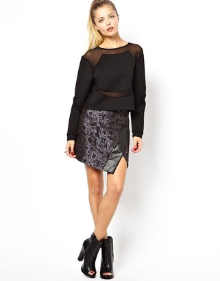 Asos Mini Skirt in Jacquard with Wrap