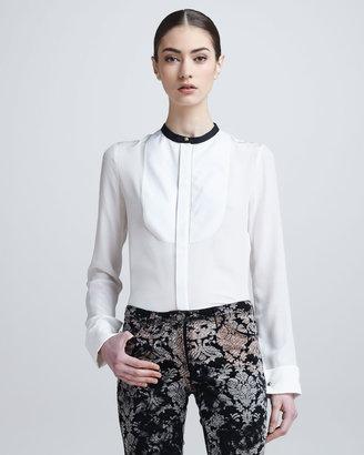 Roberto Cavalli Mandarin-Collar Tuxedo Shirt