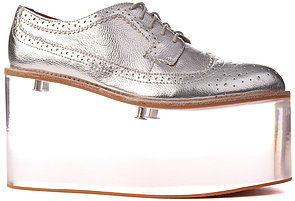 Jeffrey Campbell The Siren Shoe in Silver Metallic Leather and Clear (Exclusive)