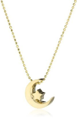 "Alex Woo ""Little Faith"" Yellow Gold Crescent Moon Pendant Necklace"