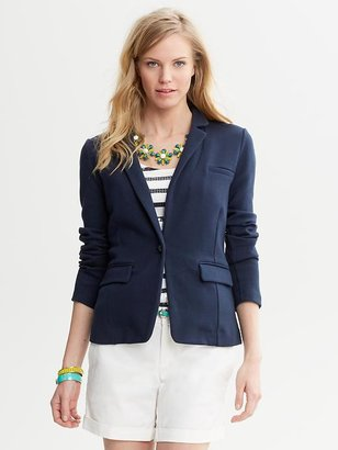 Banana Republic Navy Knit One-Button Blazer