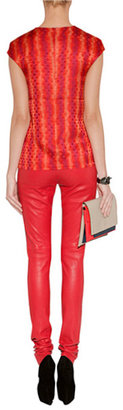 Jil Sander Hazel/Coral Leather Clutch with Removable Strap