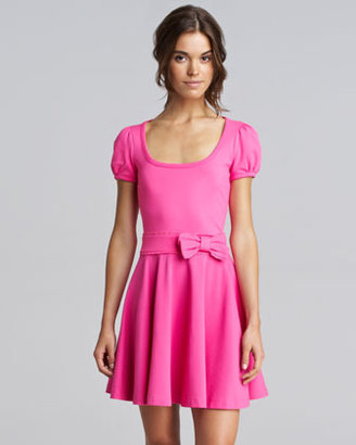 RED Valentino Bow-Waist Jersey Dress, Bright Pink