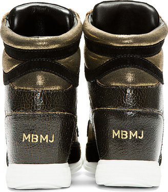 Marc by Marc Jacobs Black & Gold Distressed Leather Cute Kicks Wedge Sneakers