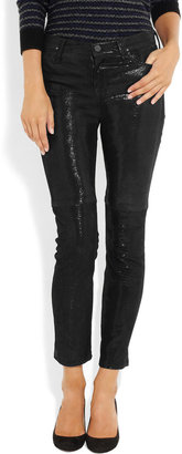 Gold Sign Thrill metallic mid-rise skinny leather jeans