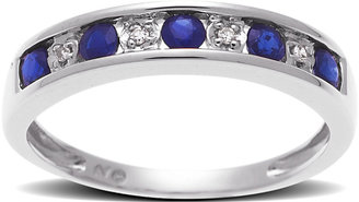 Lord & Taylor 14 Kt. White Gold Sapphire & Diamond Band Ring