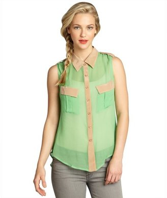 S.y.l.k lime and taupe silk chiffon 'Elisa' sleeveless shirt