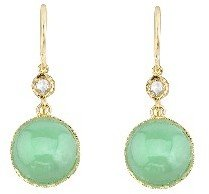 Irene Neuwirth Cabochon Chrysoprase Earrings with Rose Cut Diamonds - Yellow Gold