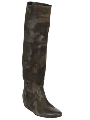 Strategia 50mm Suede Camouflage Wedged Boots