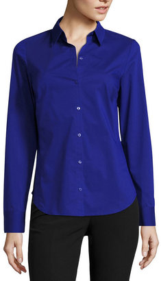 WORTHINGTON Worthington Long-Sleeve Button-Front Shirt