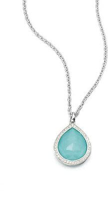 Ippolita Stella Turquoise, Clear Quartz, Diamond & Sterling Silver Teardrop Doublet Pendant Necklace
