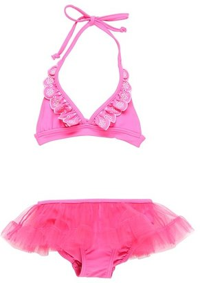 Seafolly Fairytale '70s Halter Skirtini (Infant/Toddler/Little Kids) (Cotton Candy) - Apparel