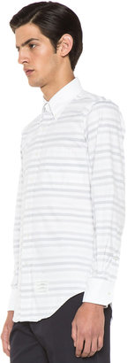 Thom Browne Classic Button Down in White & Grey