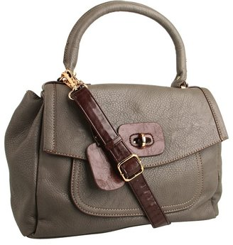 Melie Bianco Sandra Top Handle Satchel with Flap Over (Gray) - Bags and Luggage