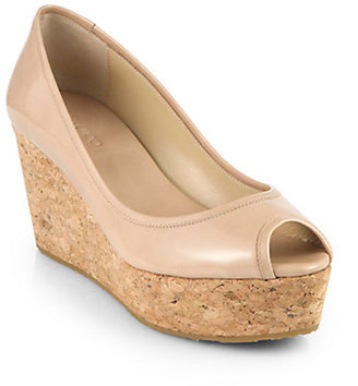 Jimmy Choo Parley Patent Leather Cork Wedge Pumps
