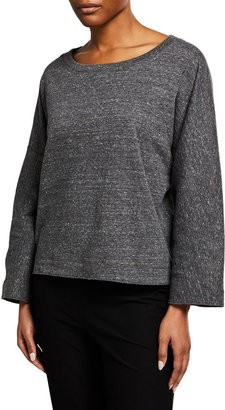 Eileen Fisher Double Layer Organic Cotton Bracelet-Sleeve Top