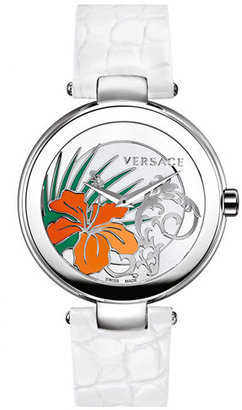 Versace 'Mystique Hibiscus' Embossed Leather Strap Watch, 38mm