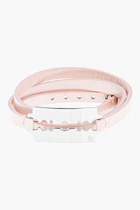 McQ by Alexander McQueen Metallic Pink Patent Leather Razor Blade Triple-Wrap Bracelet