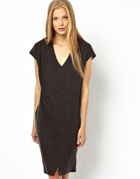 American Vintage Wool Jersey Dress with Zip Detail - Carbone melange