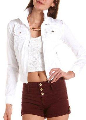 Charlotte Russe Zip-Front Cotton Bomber Jacket