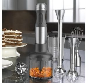 KitchenAid 5-Speed Hand Blender with Interchangeable Bell Blade & Removable Pan Guard, KHB2571SX