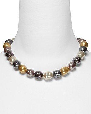 Majorica Simulated Pearl Necklace in Multi Color, 17