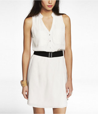 Express Sleeveless Belted Shirt Dress