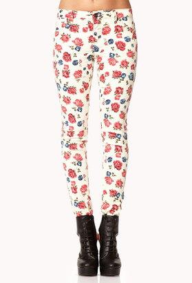 Forever 21 Garden Rose Skinny Jeans