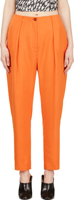 Mugler Orange Low Waist Oversize Trousers $950 thestylecure.com