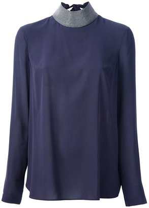 Brunello Cucinelli contrast sequinned blouse
