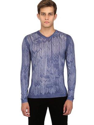 Giorgio Armani Virgin Wool Chevron Jacquard Sweater