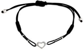 EFFY Pave Classica Diamond Heart Cord Bracelet in 14 Kt. White Gold