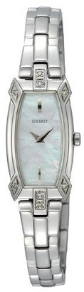 Seiko Women's SZZC59 Silver-Tone Baguette 8 Diamonds White Mother Of Pearl Dial Watch $350 thestylecure.com
