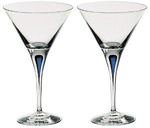 Orrefors Intermezzo Blue Set of 2 Martini Glasses