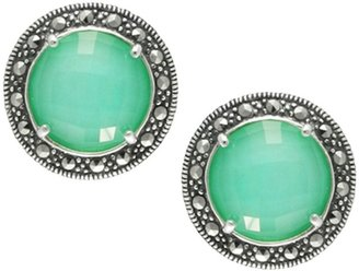 Suspicion Marcasite Round Chrysoprase Doublet Earrings, Sterl