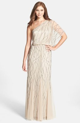 Adrianna Papell Beaded One-Shoulder Blouson Dress