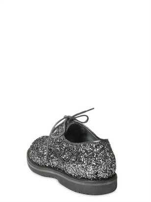 Il Gufo Glitter Leather Lace-Up Shoes