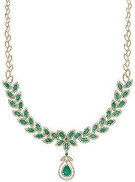 Effy Brasilica by Emerald (11-3/4 ct. t.w.) and Diamond (2-3/4 ct. t.w.) Pendant Necklace in 14k Gold, Created for Macy's