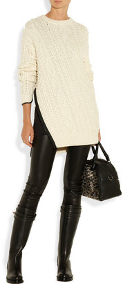 3.1 Phillip Lim Faux leather-trimmed cable-knit sweater