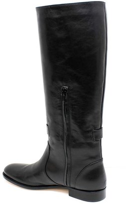 """RED Valentino FQS00309"""" Black Leather Pull On Half Zip Tall Boot"""