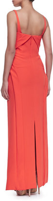 J. Mendel Sleeveless Bias-Front Silk Gown, Tiger Lily