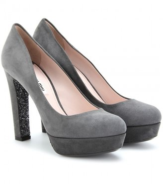 Miu Miu SUEDE PUMPS WITH GLITTER TRIMMED HEEL AND SOLE