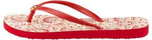 Tory Burch Floral-Print Rubber Flip Flop, Rouge