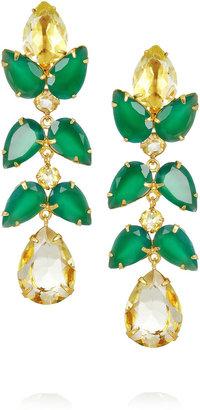 Bounkit 24-karat gold-plated, quartz and onyx drop earrings