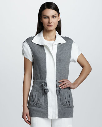 Magaschoni Colorblock Short-Sleeve Jacket