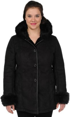 Excelled Hooded Faux-Suede Coat